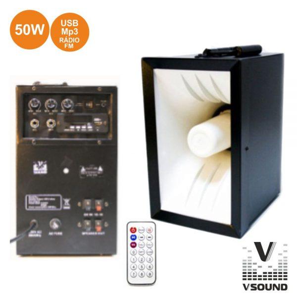Sistema Amplificado 50W USB/Mp3 VSOUND - (VSPA50U)
