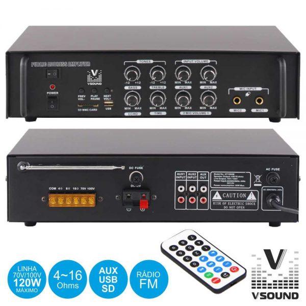 Amplificador PA 12/230V 3 Entradas 120W Mp3/USB/SD/ VSOUND - (VSPA60U)