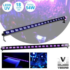 Barra LEDS UV C/ 18 LEDS UV 3W E Suporte VSOUND - (LED183UV)
