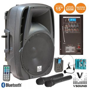 "Coluna Amplificada 15"" 600W USB/BT/SD/FM/Bat Vhf VSOUND - (VSSE15AWF)"