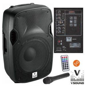 "Coluna Amplificada 12"" USB/BT/SD/BAT MIC s/Fios VSOUND - (VSSE12PM)"
