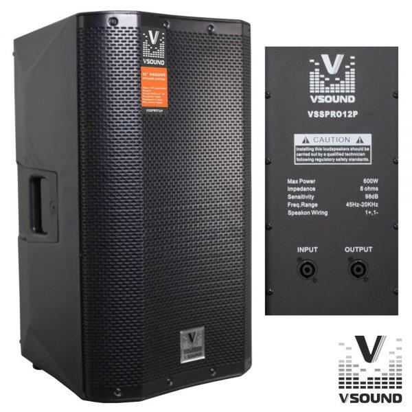 """Coluna Profissional Passiva 12"""" 600W VSOUND - (VSSPRO12P)"""