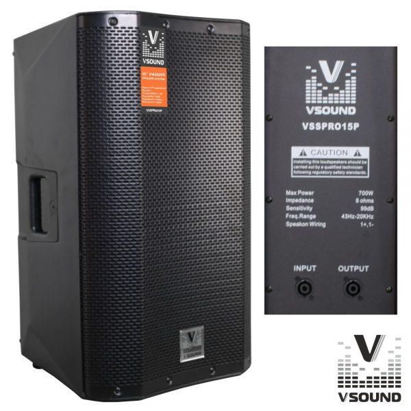 """Coluna Profissional Passiva 15"""" 700W VSOUND - (VSSPRO15P)"""