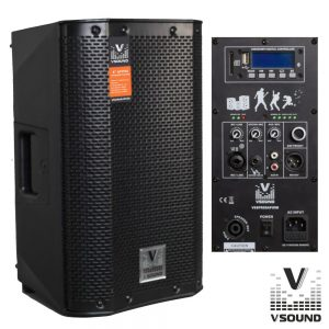 "Coluna Bi-Amplificada PRO 8"" USB/SD/FM/BT 300W VSOUND - (VSSPRO8APUSB)"