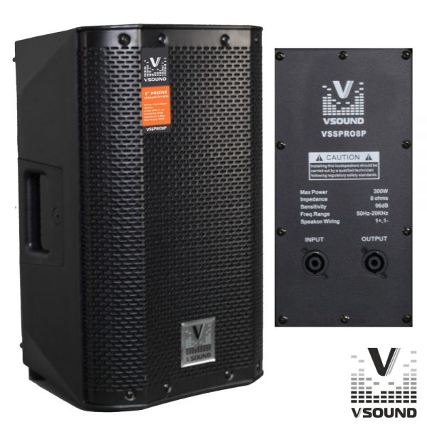 """Coluna Profissional Passiva 8"""" 300W VSOUND - (VSSPRO8P)"""