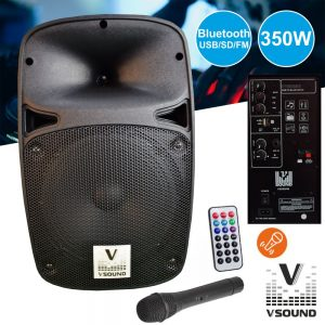 "Coluna Amplificada 8"" USB/BT/SD/BAT MIC s/Fios VSOUND - (VSSE8PM)"