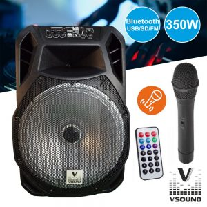 "Coluna Amplificada 15"" FM/USB/BT/SD/BAT LED MIC VSOUND - (VSSP15A)"