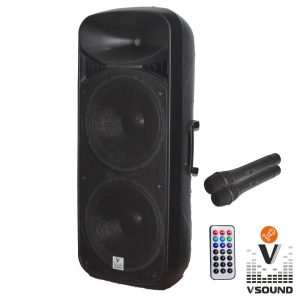 "Coluna Amplificada 2x15"" USB/FM/BT/SD/BAT MIC VSOUND - (VSSP215)"