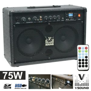 "Coluna Amplificada 2 X 6.5"" 75W USB/Mp3 VSOUND - (CUBE50A)"