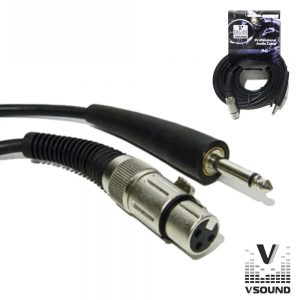 Cabo XLR 3p Fêmea / Jack 6.35mm Macho 2m Mn VSOUND - (CPS228-2)