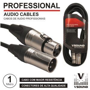 Cabo Pro XLR 3p Macho / XLR 3p Fêmea 1M VSOUND - (CPSN222-1)