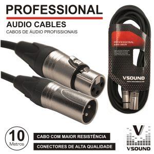 Cabo Pro XLR 3p Macho / XLR 3p Fêmea 10m VSOUND - (CPSN222-10)