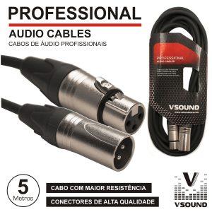 Cabo Pro XLR 3p Macho / XLR 3p Fêmea 5m VSOUND - (CPSN222-5)