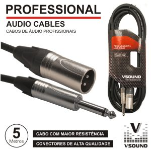 Cabo Pro XLR 3p Macho / Jack 6.35mm Macho Mn 5m VSOUND - (CPSN230-5)