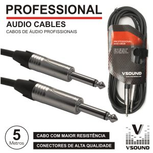 Cabo Pro Jack 6.35mm Macho / Macho 5m Mn VSOUND - (CPSN252-5)