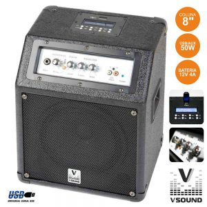 Conjunto De Som Amplificado C/ Bateria 50W USB/Mp3 VSOUND - (CUBE30A)