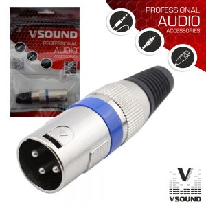 Ficha XLR 3P Macho Niquelada C/ Guarda Cabo VSOUND - (FPS103A)