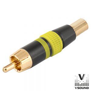 Ficha Rca Macho Amarelo Metálica / Dourada VSOUND - (FPS406A)