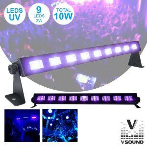 Barra LEDS UV C/ 9 LEDS UV 3W E Suporte VSOUND - (LED91UV)