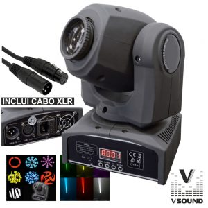 Moving Head 1 LED 12W Luminus 7 Gobos Spot DMX Mic VSOUND - (LEDMV112W)