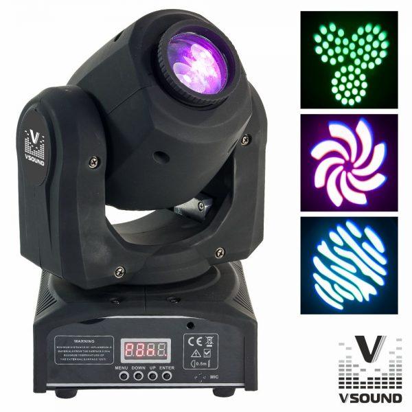 Moving Head Mini 1 LED CREE Branco 60W Gobo DMX Mic VSOUND - (LEDMV160W)