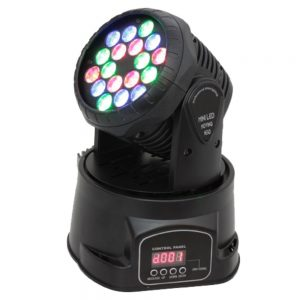 Moving Head Mini 18 LEDS 3W RGB DMX Mic VSOUND - (LEDMV183RGB)