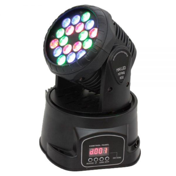 Moving Head Mini 18 LEDS 3W RGB DMX Mic VSOUND - (LEDMV183RGB)