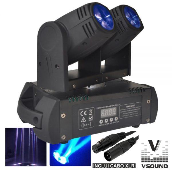 Moving Head Duplo 2 LEDS 12W Duplo DMX Mic VSOUND - (LEDMV210RGBW)