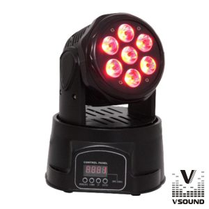 Moving Head Mini 7 LEDS CREE 10W RGBW DMX Mic VSOUND - (LEDMV710RGBW)