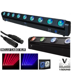 Barra De LEDS C/ 8 LEDS RGBW 10W Rotação 230º DMX VSOUND - (LEDMV810RGBW)