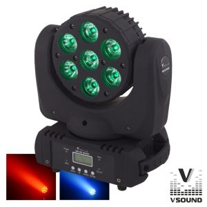 Moving Head Profissional 7 LEDS CREE RGBW 70W DMX Mic VSOUND - (LEDMVP710RGBW)