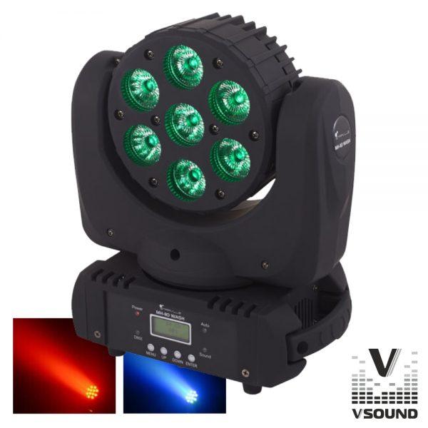 Moving Head Profissional 7 LEDS CREE RGBW 70W DMX Mic VSOUND - (LEDMVP710RGBW)