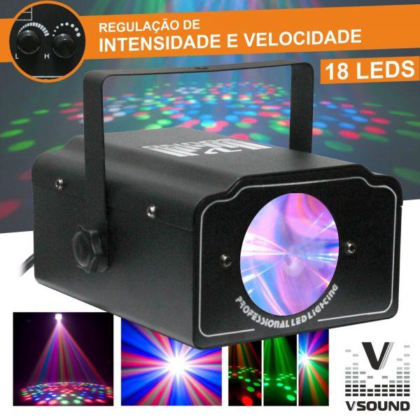 Projetor Luz C/ 18 LEDS RGB Mic VSOUND - (LEDWING)