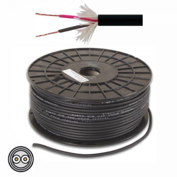 Cabo Microfone 2 Condutores + Malha 2x0.34mm² Ø6.3mm Preto - (MC002E/25)