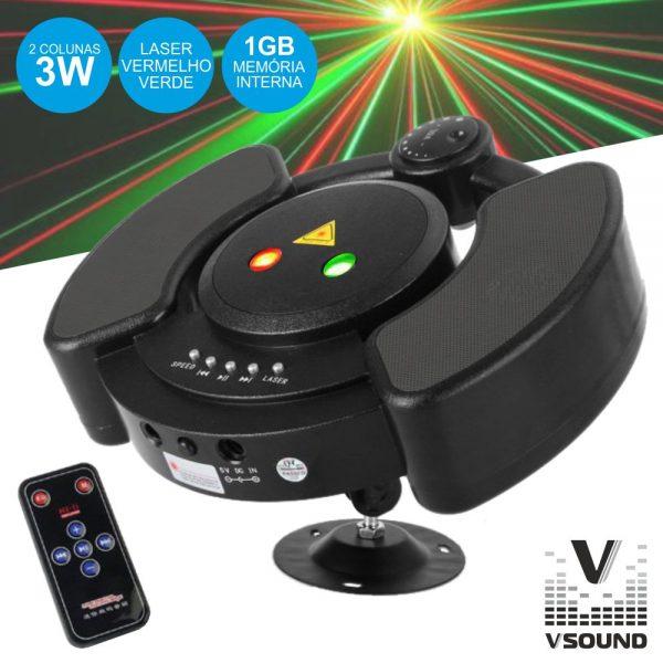 Mini Laser 150 Vermelho/Verde Star C/Leitor Mp3 VSOUND - (LASERUFO150)