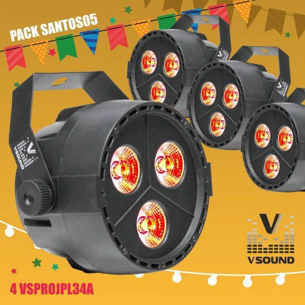 Pack 4 Projetores Luz C/ 3 LEDS 4W RGBW DMX C/Comando VSOUND - (PACK SANTOS05)
