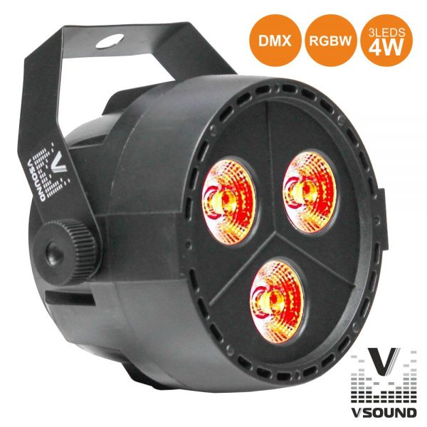 Projetor Luz C/ 3 LEDS 4W RGBW DMX VSOUND - (VSPROJPL34A)