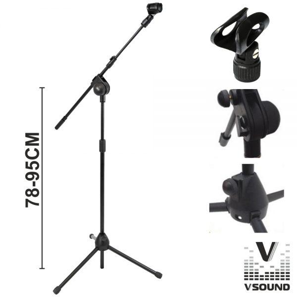 Suporte P/ Microfone Profissional VSOUND - (TRIPEMIC02A)