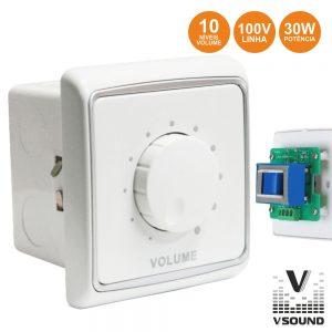Regulador De Som 30W 100v Interior Parede Branco VSOUND - (VC830)