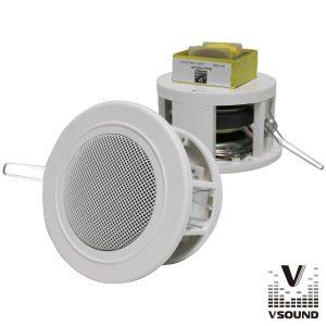 "Coluna De Tecto Pa 100v 3"" 15Wmáx Branca VSOUND - (VCS12BP)"