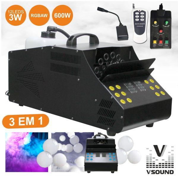 Máquina De Fumos E Bolhas 600W C/ 2 Comandos 12 LEDS VSOUND - (VSFUMBOLHAS600A)