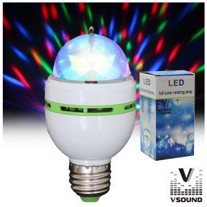 Lâmpada Rotativa 3 LEDS 1W RGB E27 VSOUND - (VSLAMP3RGB)