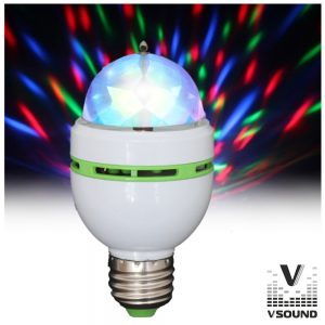 Lâmpada Rotativa 3 LEDS 1W RGB E27 VSOUND - (VSLAMP3RGB-MICRO)