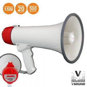 Megafone 15W C/ Gravação Voz E Sirene VSOUND - (VSME15R)