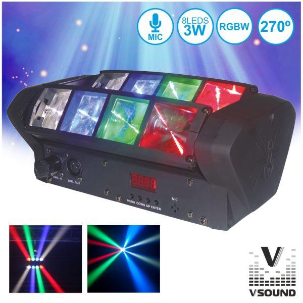 Projetor Luz C/ 8 LEDS 3W CREE RGBW 2 Barras DMX VSOUND - (VSPROJ83RGBW)
