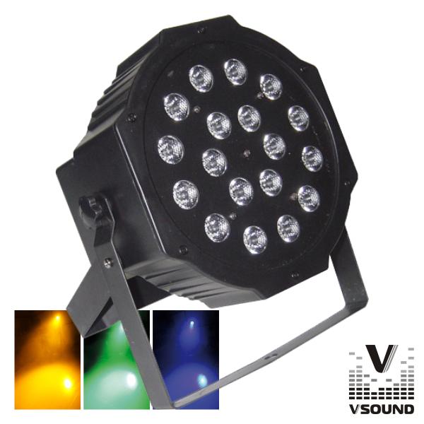 Projetor Luz C/ 18 LEDS 1W RGB DMX Mic Flat VSOUND - (VSPROJPL18A)