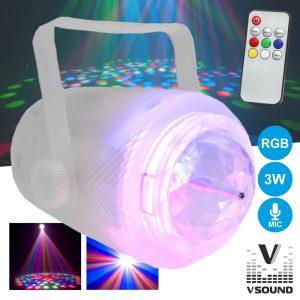 Projetor Luz C/ 3 LEDS 3W RGB Transparente Mic VSOUND - (VSPROJVS33RGB)