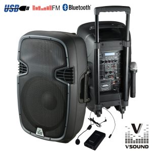 "Coluna Amplificada 12"" 400W USB/BT/SD/Bat Vhf VSOUND - (VSSE12AWB)"