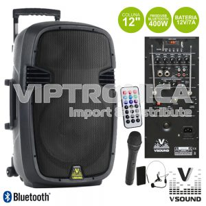 "Coluna Amplificada 12"" 400W USB/BT/SD/FM/Bat Vhf VSOUND - (VSSE12AWE)"