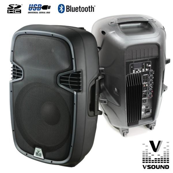 "Coluna Bi-Amplificada Pro 15"" 600W USB/SD/Bluetooth VSOUND - (VSSE15ABT)"